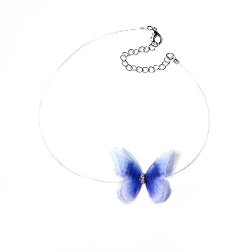 Vi.yo Doublelayer Yarn Butterfly Wings Necklace Women Invisible Fish Tape Clavicle Choker Necklace Size Fish line Length 30cm
