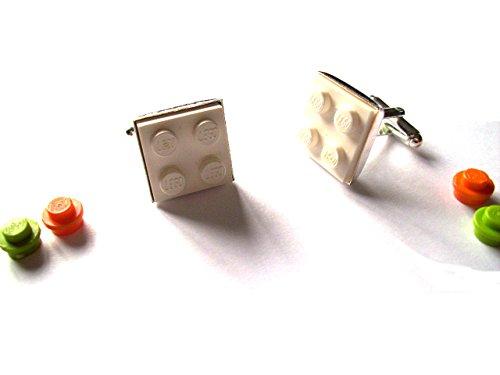 English Gems Boutons de manchette Blanc avec briques de construction Lego® et autres pièces en velours Boîte à boutons de manchette