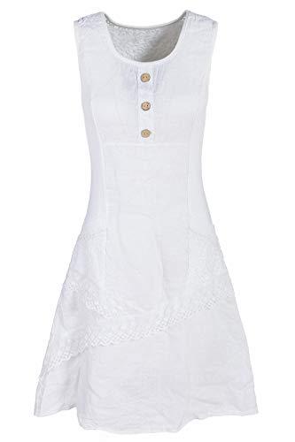 Italienische Mode GS-Fashion Leinenkleid Damen Sommer mit Spitze am Rücken Kleid ärmellos Knielang Weiß 38 (Herstellergröße L)