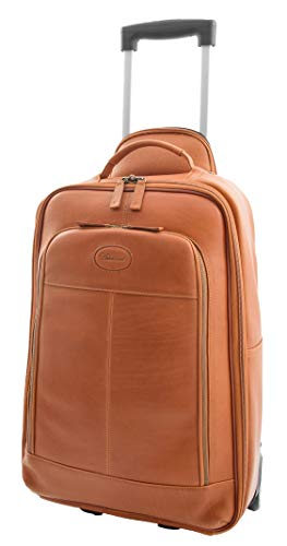 Genuine Leather Cabin Size Suitcase on Wheels Travel Trolley Flight Carry on Luggage HLG818 Tan
