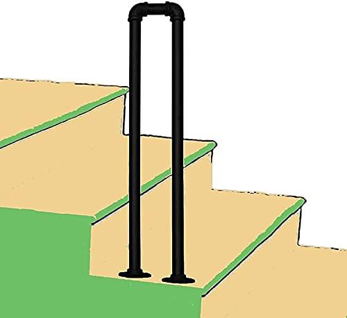 PINFU Handlauf für Treppe U-förmig 60cm-100cm Rutschfestes professionelles 1-stufiges Korridorgeländer Loft Indoor- und Outdoor-Haltegriff-Set für ältere Kinder