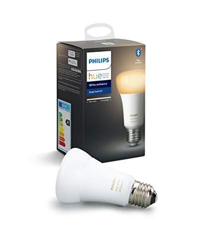 Philips Lighting Hue White Ambiance Lampadina LED Singola, con Bluetooth, da Luce Bianca Calda a Fredda, Attacco E27, 8.5 W, 1 Pezzo, Dispositivo Certificato per gli umani