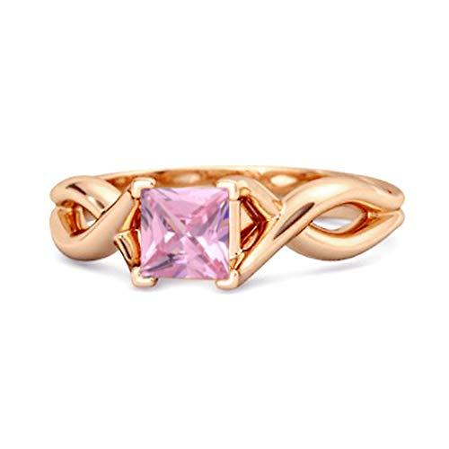 Shine Jewel Multi Elija su Piedra Preciosa Banda Infinita Anillo De Plata De Ley 925 Chapado En Oro Rosa De Corte Cuadrado De 0.50 Ctw para Mujer (12, topacio Rosa)