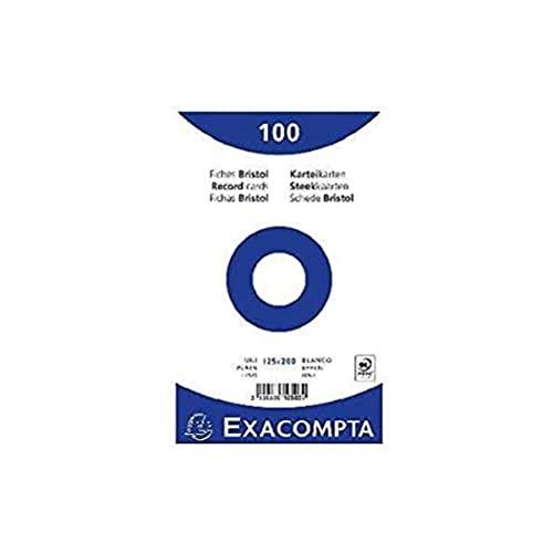 EXACOMPTA 10503E Paquet 100 fiches sous film - bristol uni non perforé 125x200mm Blanc
