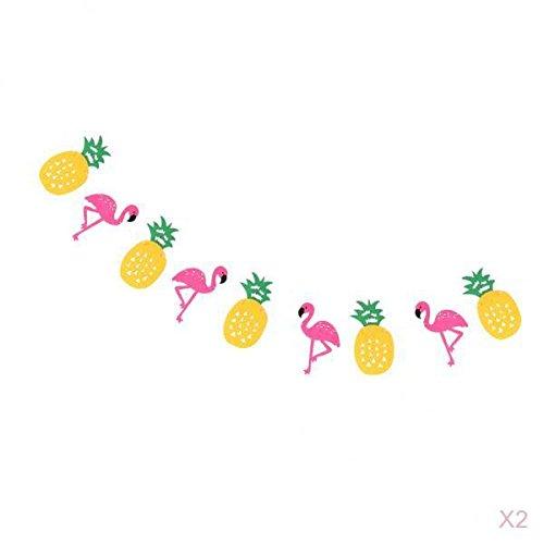 joyMerit 2pcs Hawaiian Felt Flamingo Pineapple Bunting Garland Decoration