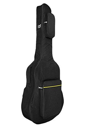 ギターケース アコースティックギター リュック フォークギター クッション性あり 防水 ギグバッグ 手提げ 2Way ギターソフトケース ポケット付き ベーシックデザイン 黒