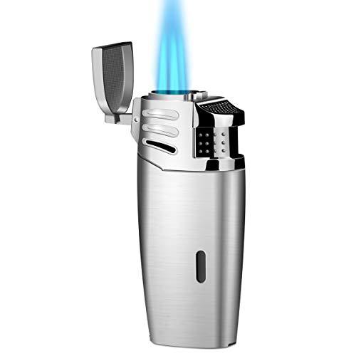 Hocety Sturmfeuerzeug, 3 Jet Flammen Feuerzeug Gasfeuerzeug Zigarren Feuerzeuge Gas Nachfüllbar (Kein Gas enthalten)
