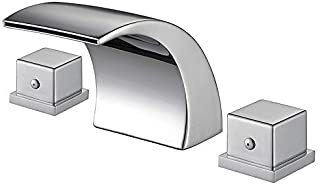 Aposhion Widespread Bathroom Double Handles Chrome Finish Hot/Cold Water Mixer Waterfall Basin Faucet Perfect for 8 Inch 3 Holes Sink, L3.54W3.15H3.35inch