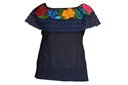 Mexikanische Hemden für Frauen, mexikanische Fiesta, hergestellt in Chiapas, verschiedene Größen und Farben - Blau - Klein