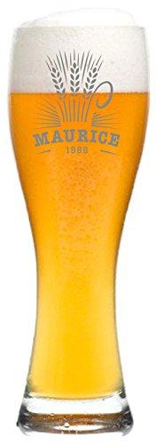 Weizenglas mit Name graviert - personalisiertes Bierglas - mit individueller Wunsch-Gravur als Geschenk (Weizenähre)