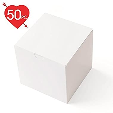 MESHA Gift Boxes 3 x 3 x 3 inches, White Paper White Boxes with Lids for Gifts, Crafting, Cupcake Packaging Boxes (50)