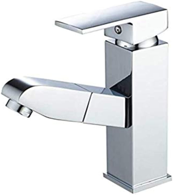 Bathroom Sink Basin Lever Mixer Tap Basin Faucet Plating Pull Wash Head Hot and Cold Water Wash Basin Wash Basin