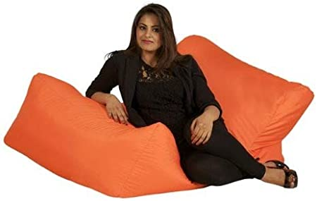 123 x 77 x 55 cm 1-Piece Black Bonkers Polyester Lounger Bean Bag Water Resistant with Beans Filling