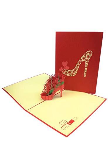 Carte de vœux pop-up à motif floral à talon haut pour anniversaire de mariage, fête des mères, remerciements, Saint-Valentin, mariage