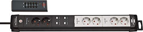 Brennenstuhl Premium-Line Funkschalt-Steckdosenleiste RC PL1 1001 6-fach schwarz/lichtgrau 3m H05VV-F 3G1,5, 2 permanente, 4 schaltbare Steckdosen (1 Stück, 6-Fach | Schwarz/Lichtgrau)