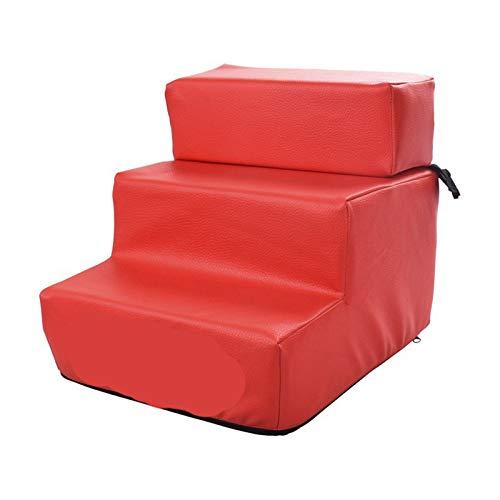 LHY-TRAVEL 3-Stufige Haustreppe, rutschfeste Lederzogene Waschbare Faltbare Hundestufen, Weiche Gepolsterte Überdachte Katze Hunderampe Für Hohe Betten,Rot