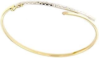 forme di Lucchetta per Donna - Bracciale Rigido Schiava in Oro Bianco e Giallo 9k - 19cm - Made in Italy Certificato, BC2971