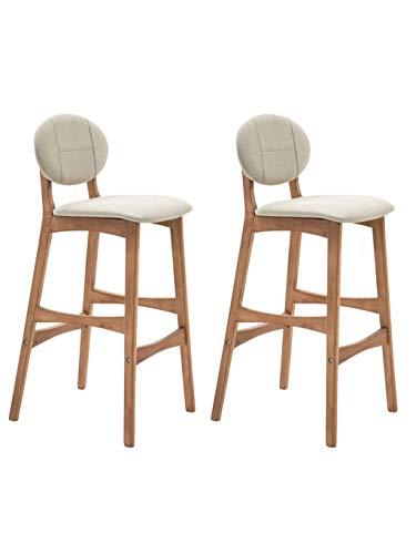 Barstoolri set met 2 barkrukken, ergonomisch, antislip, frame van massief hout, robuust voor ontbijt, keuken, thuis 75cm Lichtgrijs