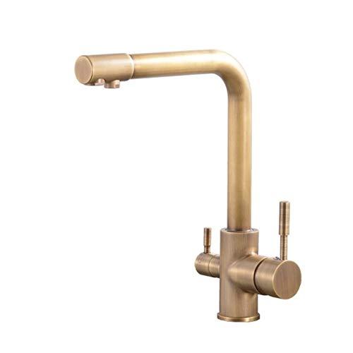 JYHW Llave de cocina dorada con cubierta de agua filtrada Montado Mezclador de agua potable Grifo Latón Filtro de grifo de cocina dorado Antiguo