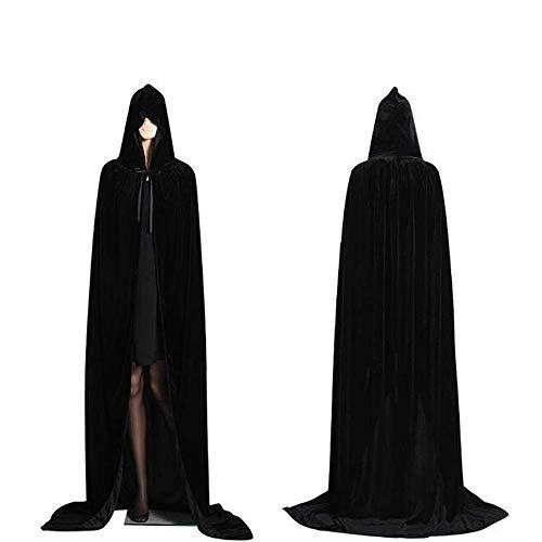 CDwxqBB Capa con Capucha Chal Largo Bata De Terciopelo Fiesta De Disfraces De Halloween Bruja Diablo Vampiro Cosplay Vestido Elegante,Negro
