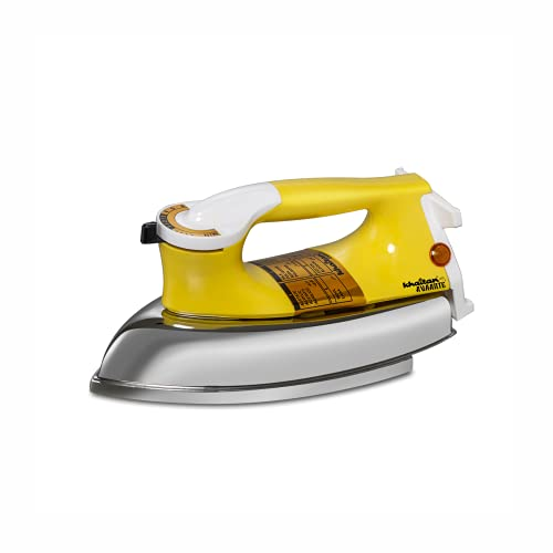 KHAITAN AVAANTE 750 W Heavy weight Dry Iron Dara (Yellow) with 2 Years Replacement Warranty