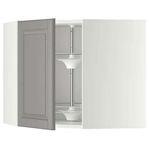 METOD hörnväggskåp med karusell 67,5 x 67,5 x 60 cm vit/Bodbyn grå