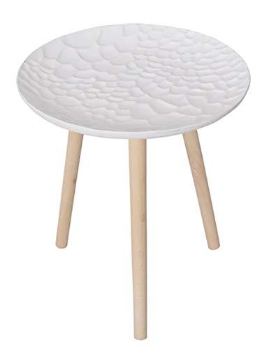 Plateau géométrique Petite Table/Table Basse Simple/Table d'appoint Design, Table Ronde en pin créatif, Blanc Mat, Multi-Taille en Option