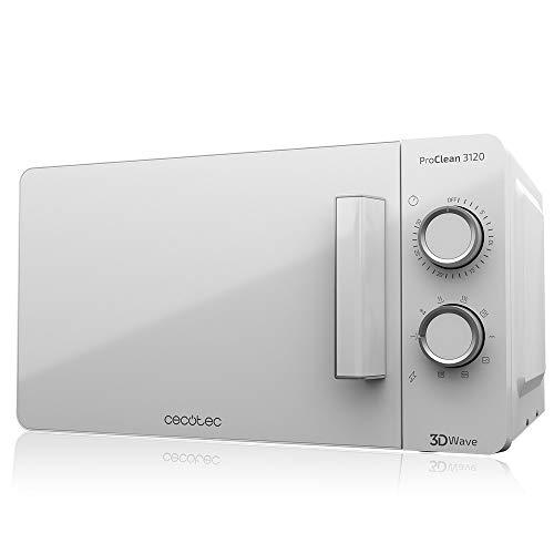 Cecotec Microondas blanco ProClean 3120. Con Grill y Revestimiento Ready2Clean para mejor limpieza. Tecnología 3DWave, Cantidad 20 L. Diseño elegante puerta FullWhite y detalles metálicos.6 niveles.