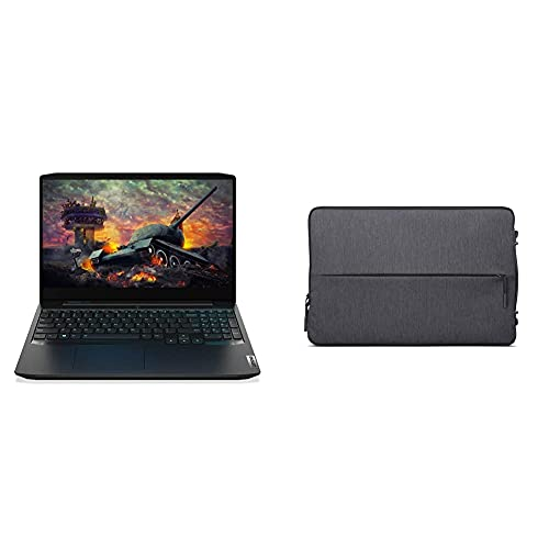 "Lenovo IdeaPad Gaming 3 AMD Ryzen 5 4600H 15.6 FHD IPS Gaming Laptop (8GB/512GB SSD/Windows 10/NVIDIA GTX 1650 4GB/60Hz Refresh Display/Onyx Black/2.2Kg), 82EY00L9IN + Lenovo 15.6"" Urban Laptop Sleeve"