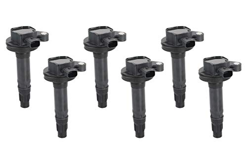 Ignition Coil Pack Set of 6 - Compatible with Ford, Mercury, Mazda & Lincoln Vehicles - 3.5L, 3.7L V6 Edge, F150, Explorer, Mustang, Taurus X, MKZ - Replaces 7T4E-12A375-EE, DG520, 7T4Z12029E, DG-520