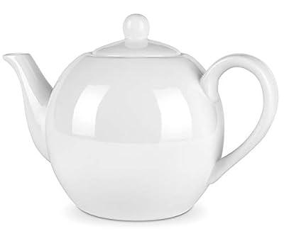DOWAN Porcelain White Teapot - 40 Ounces Tea Pot, Dishwasher Safe, Large Enough for 5 Cups