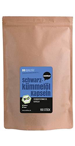 Wohltuer Bio Schwarzkümmelöl Kapseln vegan (160 Stück) | Ägyptisches Bio Schwarzkümmelöl zur täglichen Nahrungsergänzung (DE-ÖKO-006)