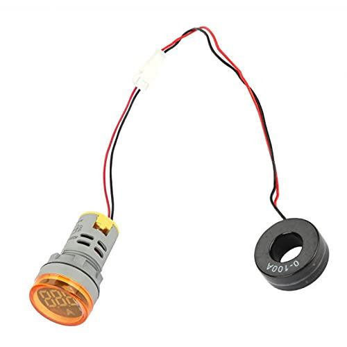 Amperímetro digital LED 0-100A Indicador de medidor de corriente CA Señal de luz de lámpara redonda LED 65-500 (V) Azul Blanco Rojo Verde Amarillo(Amarillo)
