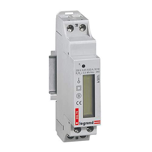Legrand 004670 Compteur Modulaire Monophasé EMDX³ Non MID Raccordement Direct avec Sortie à Impulsions, 32A, 1 Module, Gris Clair