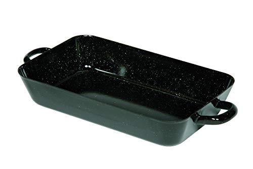Riess, 0047-022, Bratpfanne 37/22cm, CLASSIC - BACK- UND BRATFORMEN, Maße 37 x 22 cm, Höhe 6,0 cm, Inhalt 2,70 Liter, Emaille, Bräter, schwarz, 1,28 kg, 44,5 x 22,4 x 6cm