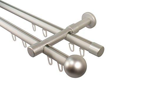iso-design Gardinenstange alu Silber mit Innenlauf 2-läufig 20 mm Endstück Kugel, 200 cm