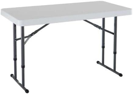 Best Lifetime 80160 Commercial Height Adjustable Folding Utility Table, 4 Feet, White Granite
