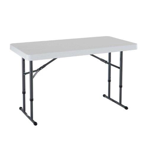 LIFETIME – Mesa Plegable Ajustable de Altura Comercial, Granito Blanco, White Granite