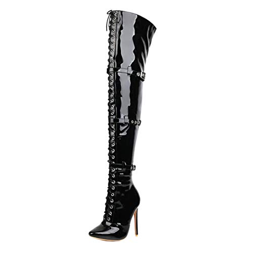 Birdsight Damen Lackstiefel Overknee High Heels Stiefel Stiletto Thigh High Boots zum Schnüren Langschaftstiefel Spitz Winter Schuhe (Schwarz, 36)