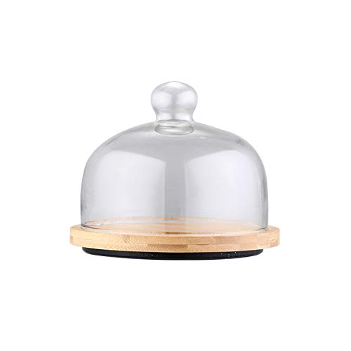 PETAAA Cake Turntable Trays With Lid, Round Wooden Cake Pallet Afternoon Tea Dessert PlatesLead-free Glass Dome Easy To Clean Dome Cheese Pizza Dome(Size:29.5cm)