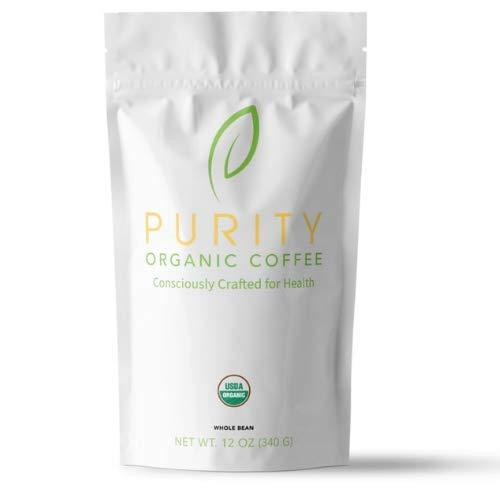Organic Coffee Beans, Purity Coffee, 12 ounce bag, Mold Free, Certified Organic Specialty Grade Arabica Beans (Dark Roast Whole Bean)