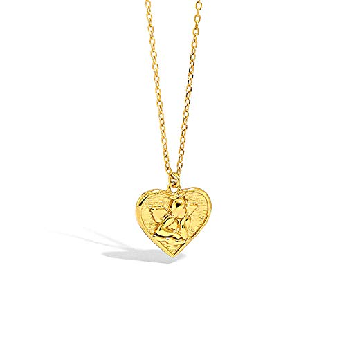 100% 925 Plata Oro Cupido Eros Amor Colgante en forma de corazón Collar largo Cadena Moda Mujer Joyería-Oro