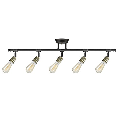 Rennes 5-Light Track Lighting, Oil Rubbed Bronze Finish, Antique Brass Sockets, Bulbs Included,59328