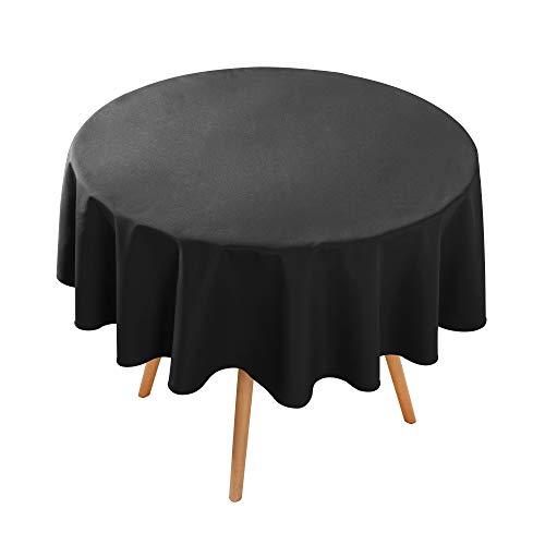 Amazon Brand - Umi Mantel Impermeable Mesa Redondo contra la Mancha 1 Pieza 140cm Negro