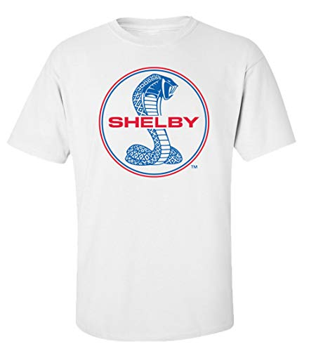 Ford Mustang Shelby Cobra T-Shirt Blue & Red Circle Logo Racing Performance Race...