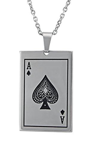 Veuer Schmuck für Männer Edle Edelstahl Herren Hals-Kette, Pik Ass Poker, Skat, Karten-Spiel Geschenk für den Freund/Ehe-Mann/Männer