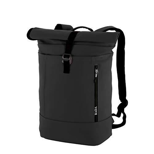 Rada Rucksack College Backpack Rolltop 13l | Daypack | Cooler Schulrucksack für Mädchen und Jungen | Tagesrucksack Unisex | aus robustem Polyester (Black)