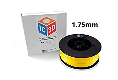 IC3D Yellow 1.75mm PETG 3D Printer Filament - 2.3kg Spool - Dimensional Accuracy +/- 0.05mm - Professional Grade 3D Printing Filament - Made in USA