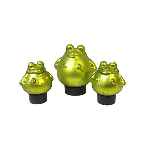 Markenlos Schwimmfrosch mit 2 Kindern Teichdeko Schwimmkugel Frosch Glas Tier Miniteich