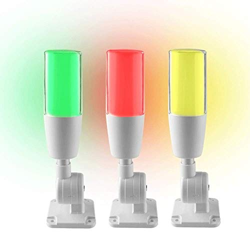 YJINGRUI LED Industrial Signal Tower Light 3 Colors Flash LED 180°Folding Light with Buzzer Alarm Warning Lamp for CNC Machines Red Yellow Green 100db (DC 24V)